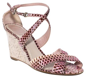Dior Snakeskin Wedge Pink Sandals