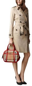 Burberry Leather Check Plaid Orchard Crossbody Satchel in Red Check
