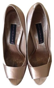 Steven by Steve Madden Peep Toe Satin Champagne Classic Champagne Satin Pumps