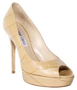 Jimmy Choo Crocodile Peep Toe beige Pumps