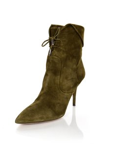 Aquazzura Olive Suede Ankle Olive Green Boots