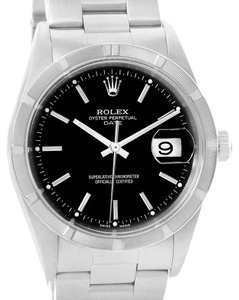 Rolex Rolex Date Stainless Steel Black Baton Dial Automatic Mens Watch 15210