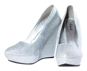 Qupid Sparkle Slip On Silver Wedges