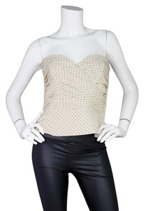 Giorgio Armani Polka Dot Bustier Strapless Ruched Top Black and white
