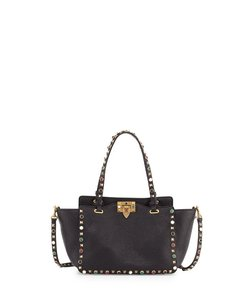 Valentino Rockstud Studded Rolling Tote in Black