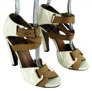 Pierre Hardy Peep Toe Patent Leather Multi Strap Chunky Heel White Sandals