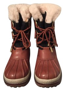 Tory Burch Shearling Duck Winter Leather Fur Brown, Charcoal Boots