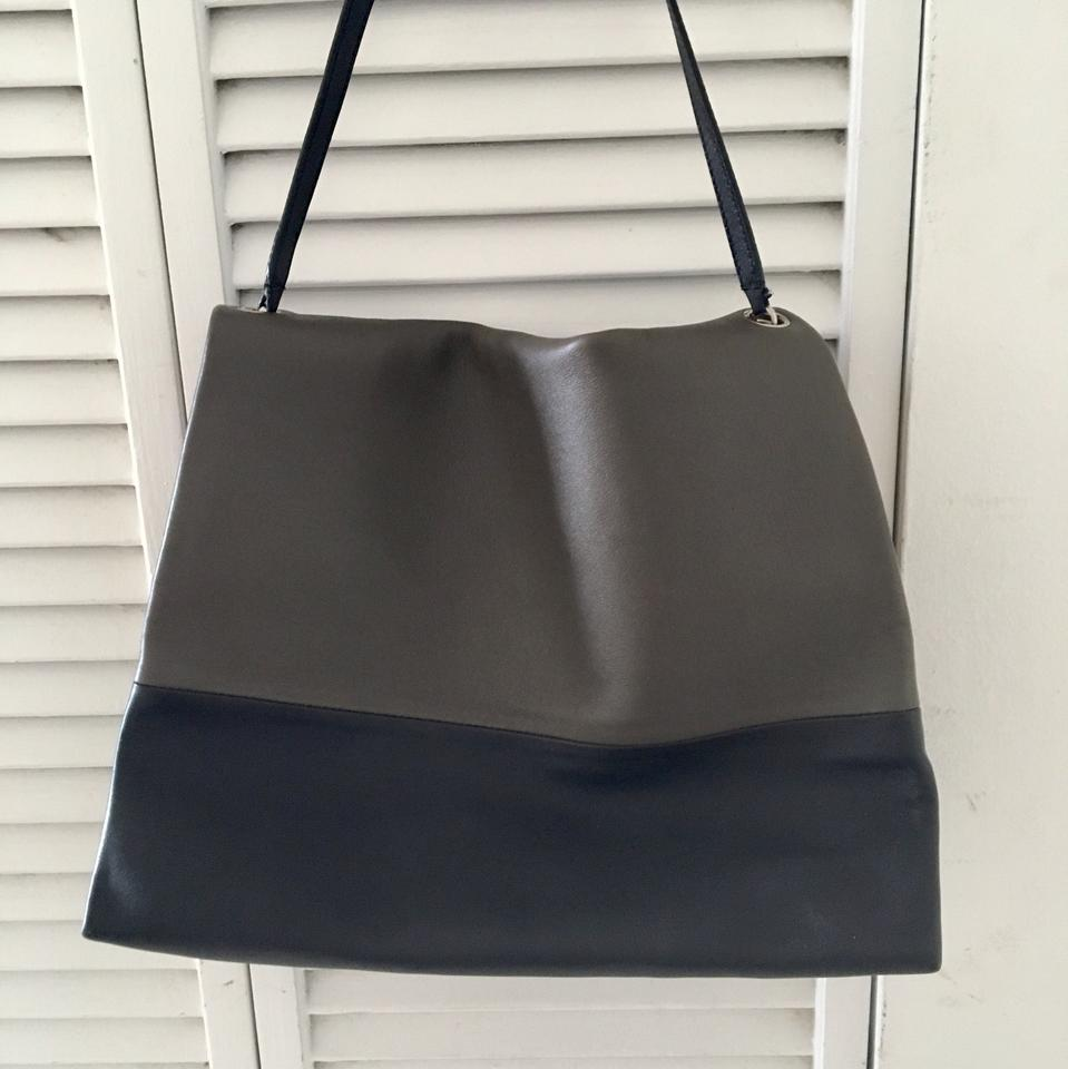 3686d1f071fd Céline All Soft Gray Navy Brown Leather Suede Shoulder Bag - Tradesy
