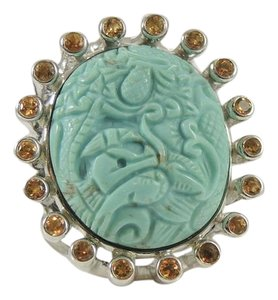 Stephen Dweck Stephen Dweck Sterling Silver Carved Turquoise Citrine Crown Ring