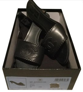 Chanel $650 Leather Black Mules