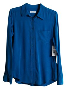 Equipment Silk Shirt Brett Turkish Tile Button Down Shirt Blue