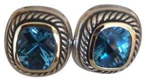 David Yurman David Yurman Sterling Silver 14K Gold Blue Topaz Albion Earrings
