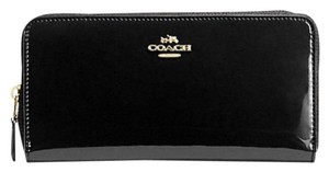 Coach NWT - Signature Black Patent Leather Accordion Zip Wallet - Gift Box