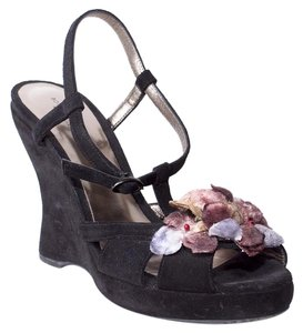 Bottega Veneta Wedge Suede Flower black Sandals