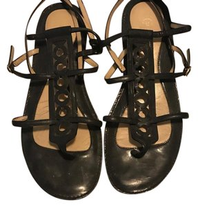Coach Black Patent Leather Sandals