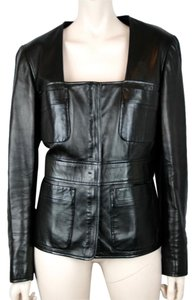 Saint Laurent Leather Lambskin Motorcycle BLACK Leather Jacket