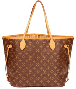 Louis Vuitton Neverfull Mm Leather Neverfull Tote in Monogram