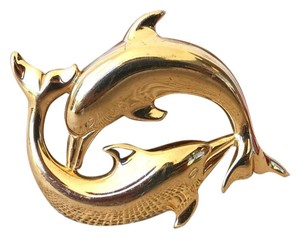 Hermès Hermes Gold Plated Double Dolphins Belt Buckle