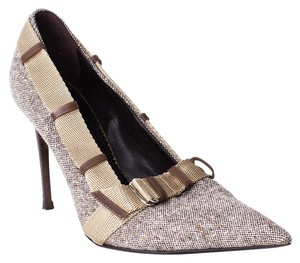 Stella McCartney Tweed Buckle beige Pumps