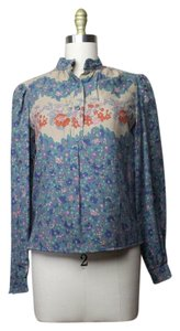 Oscar de la Renta Vintage 70's Floral Top Blue Multi Color