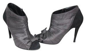 Chanel Suede Leather Bow Gray black Boots