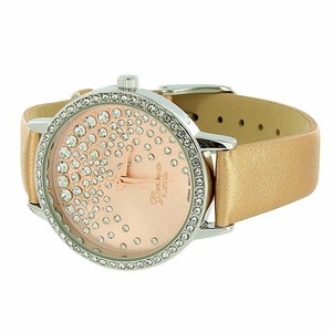 Geneva Gold Leather Band Pink Dial Floating Stones Design Ladies Watch