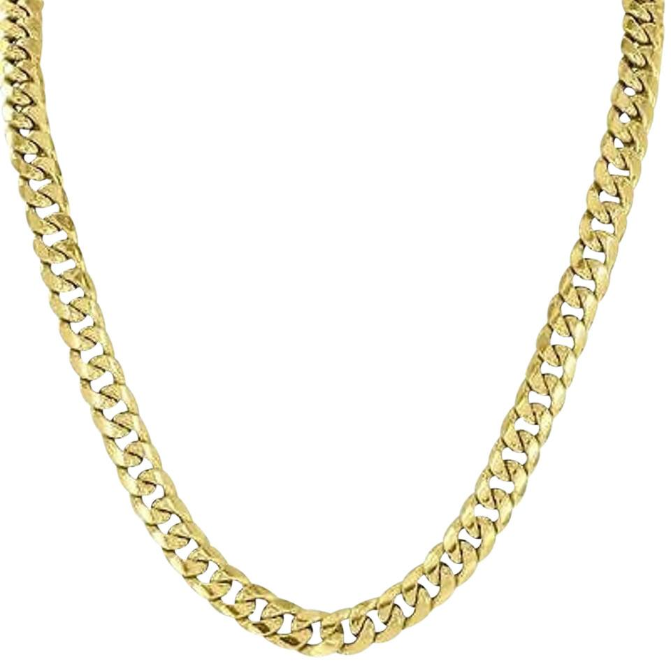 necklace chain diamond cut mens sterling miami link flat s cuban solid silver