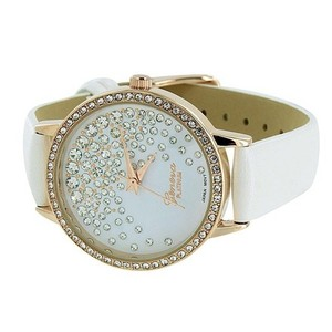 Geneva Rose Gold Tone Watch Floating Stones White Dial Leather Strap Watch