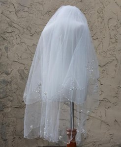 Waist Length Double Layered Veil With Pearls And Sequins