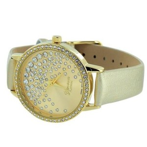 Geneva Yellow Gold Tone WatchDesign Womens Gold Leather Strap Elegant On Sale