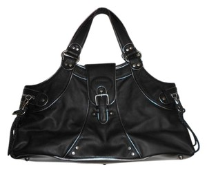 BCBGeneration Leather Bcbg Satchel in Black with Silver Hardware