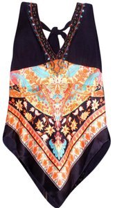 Cache Silk Print Beaded Bright Bold Top Multi-Colored