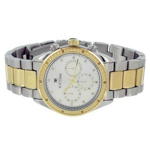 IceTime Real Diamond Watches On Sale Mens Tone Timezone Look Icetime