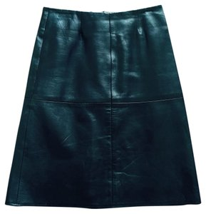 Barneys Co-Op Lambskin Leather Barneys Skirt Black