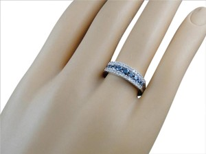 Jewellery Unlimited 10k White Gold Blue White Diamond Engagement Wedding 6 MM Fashion Ring