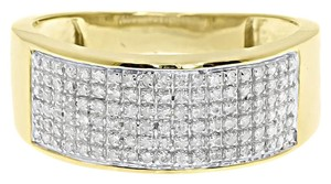 Jewellery Unlimited 10k Yellow Gold Mens Pave Round Diamond 9mm Wedding Fashion Band Ring