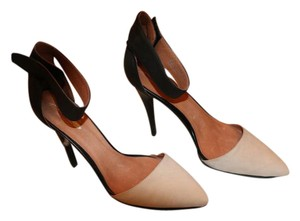 Free People Stiletto Ankle Strap Leather And Seude Black/Beige Formal