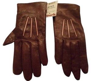 Amicale Cashmere NEW AMICALE LEATHER GLOVES SIZE L Leather Gloves BURGANDY