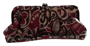 Tommy Hilfiger Classic Leather Floral Red, brown and tan Clutch