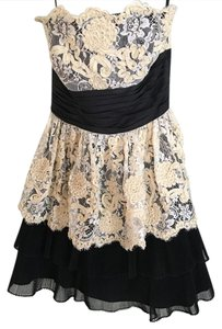 Betsey Johnson Strapless Micro-mini Evening Lace Dress
