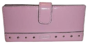 Coach Pink Patent LIQUID GLOSS Multi-function Card Wallet w/Edge Studs 50790