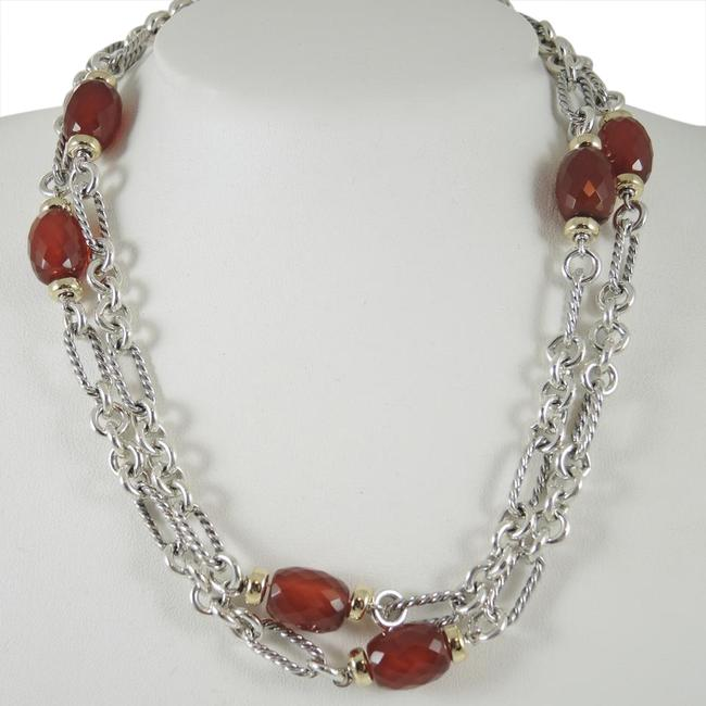 "Item - Silver - Gold - Red Sterling 18k 32"" Carnelian Bijoux Figaro Necklace"