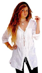 Lirome Cover-up Cotton Gauze Plus-size Embroidery Tunic