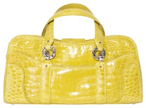 Judith Leiber Alligator Patent Tote in yellow