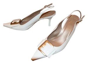 Stuart Weizman Patent Sling Back Gold Buckle Easter White Pumps