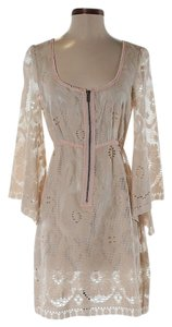 Free People short dress Cream Floral Lace Shift on Tradesy