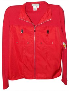 Coldwater Creek Classic Luxury Silver Hardware Bright Bold Orange Jacket