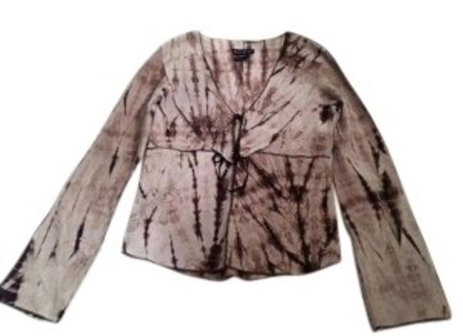 bebe Sueded Leather Lightweight Tie Dye Gray and Chocolate Jacket