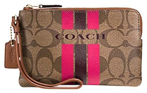 Coach Wristlet in Khaki Pink Ruby