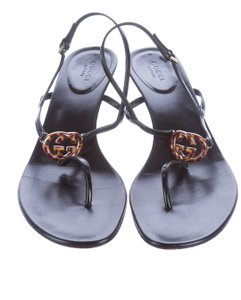 Gucci Gg Logo Patent Leather Strappy Tortoise Shell Black, Brown Sandals